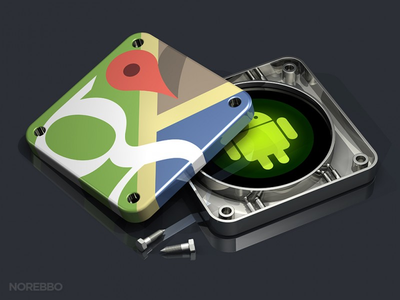 3d illustration of a disassembled Google Maps app icon showing a glowing green Android logo on the inside
